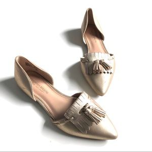9 Christian Siriano Gold Flats with Tassel